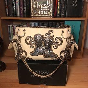 Handbags - Cream & Brown -Blingy Cowboy Boot Shoulder Bag EUC